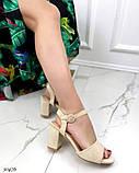 Женские босоножки на удобном устойчивом каблуке 8 см черные бежевые, фото 4