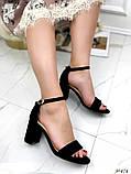 Женские босоножки с ремешком на удобном устойчивом каблуке 8 см черные бежевые, фото 3