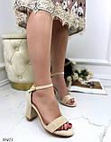 Женские босоножки с ремешком на удобном устойчивом каблуке 8 см черные бежевые, фото 6