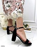 Женские босоножки с ремешком на удобном устойчивом каблуке 8 см черные бежевые, фото 4