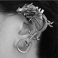 Серьга на одно ухо каффа дракон