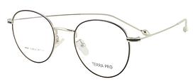 Оправа ободковая стильна, кругла, з тонкого металу, чорна зі сріблом, унісекс, Terra Pro