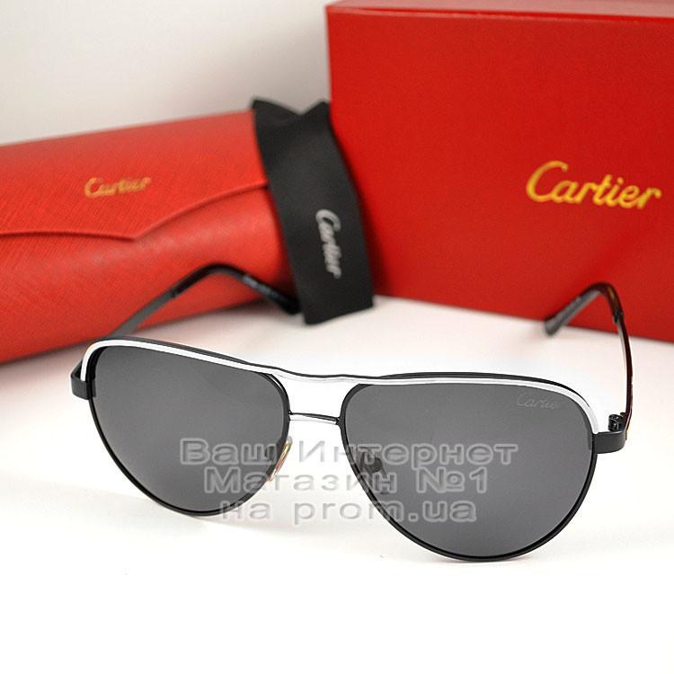 Мужские солнцезащитные очки Cartier Авиатор Aviator с поляризацией Polarized Картье реплика