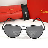 Чоловічі сонцезахисні окуляри Cartier Авіатор Aviator з поляризацією Polarized Картьє репліка, фото 6