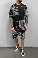 Мужской летний спортивный костюм шорты футболка, стильный повседневный костюм прогулочный черный
