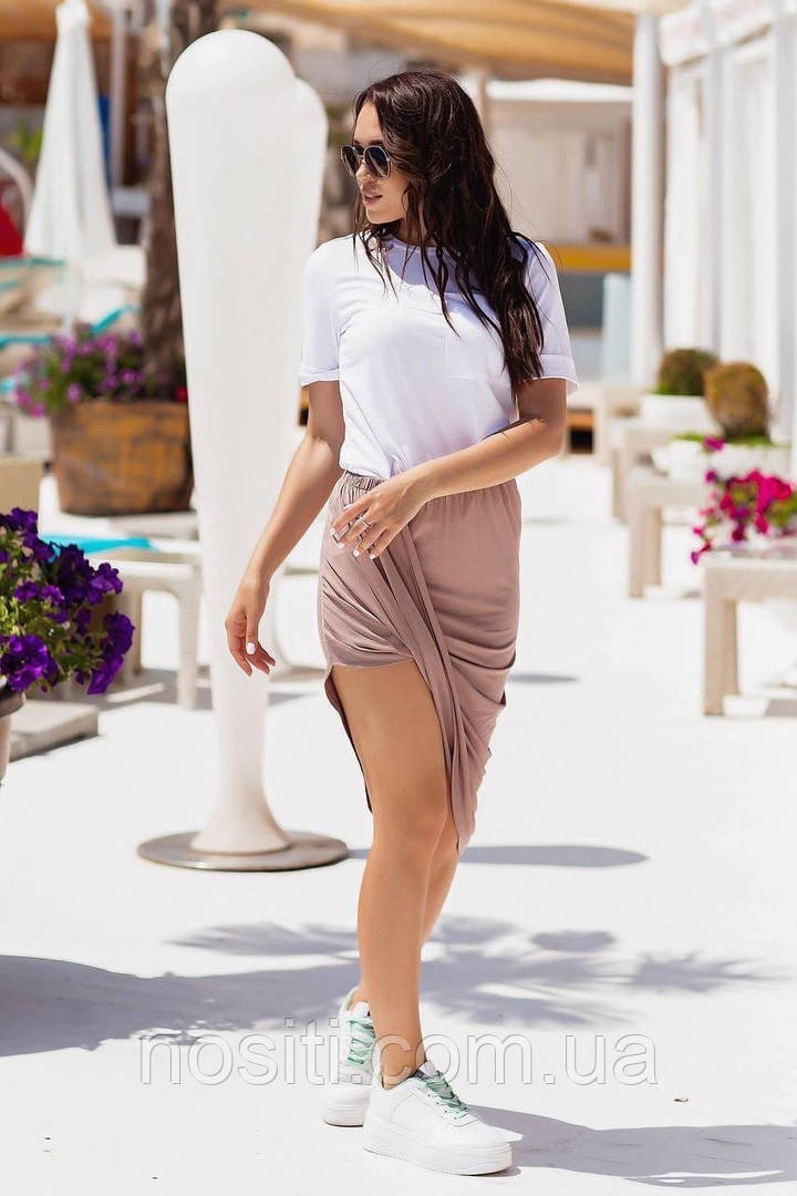 Женкий літній костюм футболка з спідницею