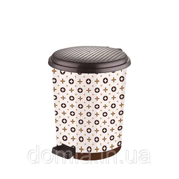 Ведро мусорное с педалью c рисунком Louis Vuitton (27*30*33 cм) 17 л, Elif Plastik Турция Е-366
