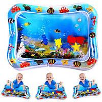 Розвиваючий надувний дитячий водний килимок Дісней Водяній акваковрик з водою і рибками для малюків