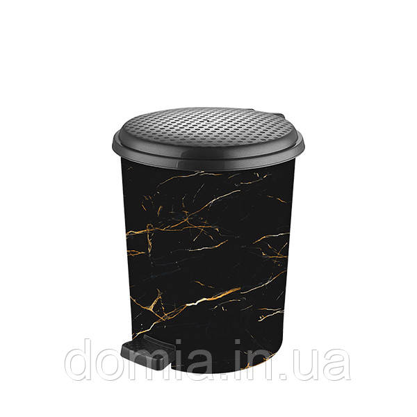 Ведро мусорное с педалью c рисунком Чёрный мрамор (23*25*28 cм) 11 л, Elif Plastik Турция Е-365