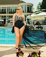 Жіночий купальник великого розміру №504 (р. 50-64) чорний+золото