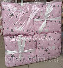 Захист бортики Подушки 12 штук на 4 сторони (окремі) на зав'язочках для дитячого ліжечка 140*60см. Сови