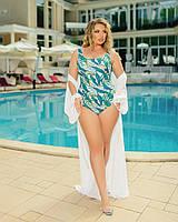 Жіночий злитий купальник великого розміру №358 (р. 50-64) бірюзовий