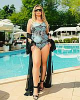 Жіночий злитий купальник великого розміру №358 (р. 50-64) чорний+блакитний