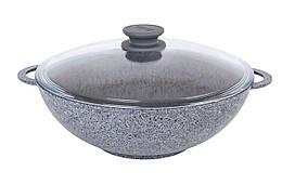 Сковорода Биол Гранит грей антипригарная Wok со стеклянной крышкой 28 см 28034ПС