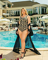 Жіночий злитий купальник великого розміру №358 (р. 50-64) чорний+золото