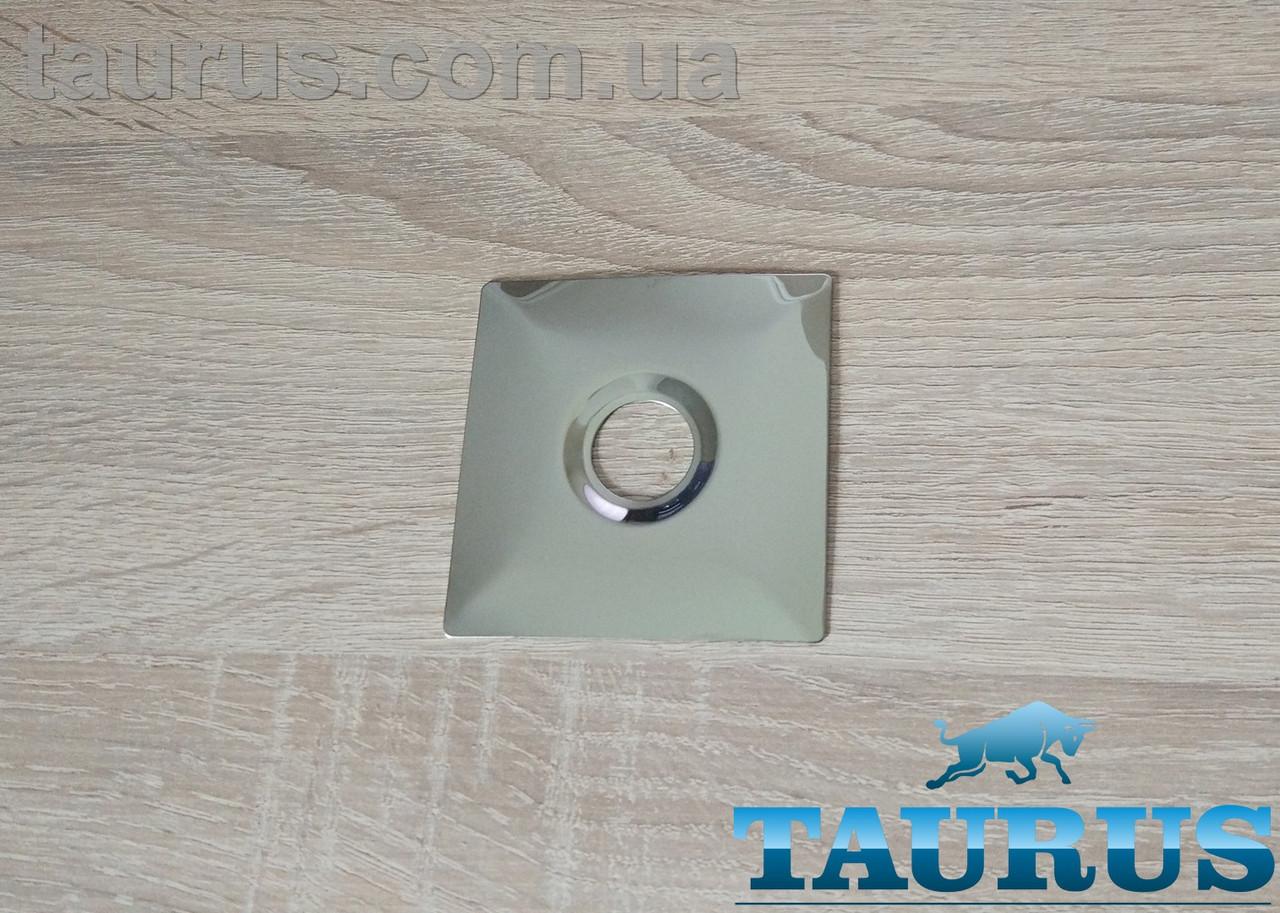 "Большой плоский н/ж фланец Cube chrome 74x74 мм, высота 3 мм, под внутренний размер 1/2"" d20 мм. ThermoPulse"