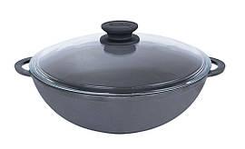 Сковорода чугунная WOK Биол со стеклянной крышкой 3 л 0526с