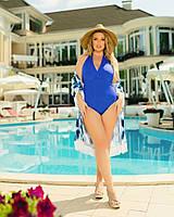 Жіночий злитий купальник великого розміру №362 (р. 46-64) електрик