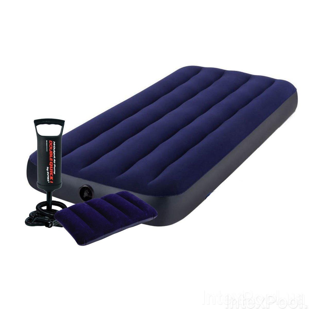 Одномісний надувний матрац Bestway 64756-2, 76 x 191 x 25 см, з подушкою, насосом Синій