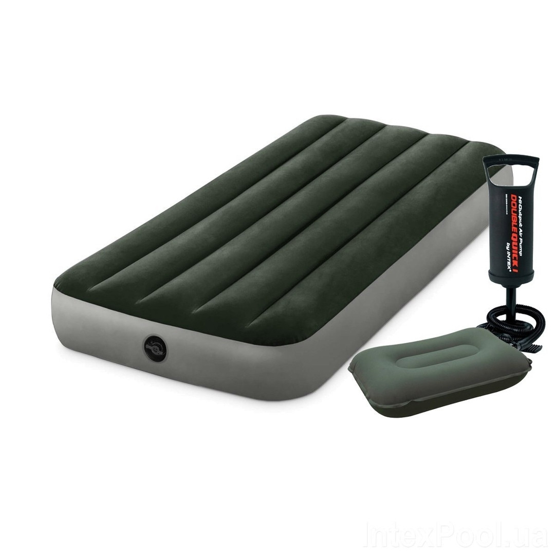 Надувной матрас Одноместный Intex 64106-2, 76 x 191 x 25 см, с подушкой, насосом (hub_i598i8)