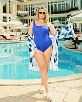 Жіночий злитий купальник великого розміру №259 (р. 50-64) електрик