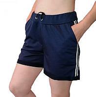Женские шорты двухнитка. Трикотажные женские шорты с карманами большой размер. Размер ХL Синий
