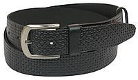 Чоловічий шкіряний ремінь під джинси Skipper 1058-40 чорний 4 см
