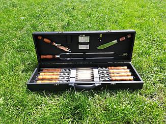 """Набор 8 шампуров для мяса и люля-кебаб """"Master"""" (730х15х3 мм) + набор аксессуаров в деревянном кейсе"""