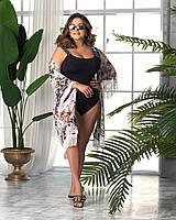 Жіночий злитий купальник великого розміру №500 (р. 50-64) чорний