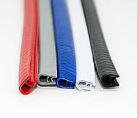 Молдинг кромки двери 5м Белый силикон усилен,Широкий П-образный,метал основа (водосток) (3965)