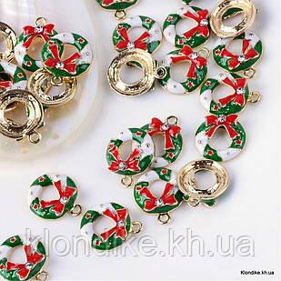 Кулон Круглый со Стразами, из Сплава, Эмалированный, 19x16x5.5мм,Цвет: Зеленый (2 шт)