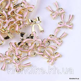Кулон Бант, из Сплава, Эмалированный, 19.5x17.5x3мм, Цвет: Розовый (5 шт)