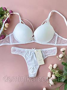 80B Женское нижнее белье комплект, белый бюстгальтер пуш-ап, красивые трусики стринги