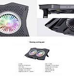 Охолоджуюча підставка для ноутбука з USB + підсвітка RGB, фото 9