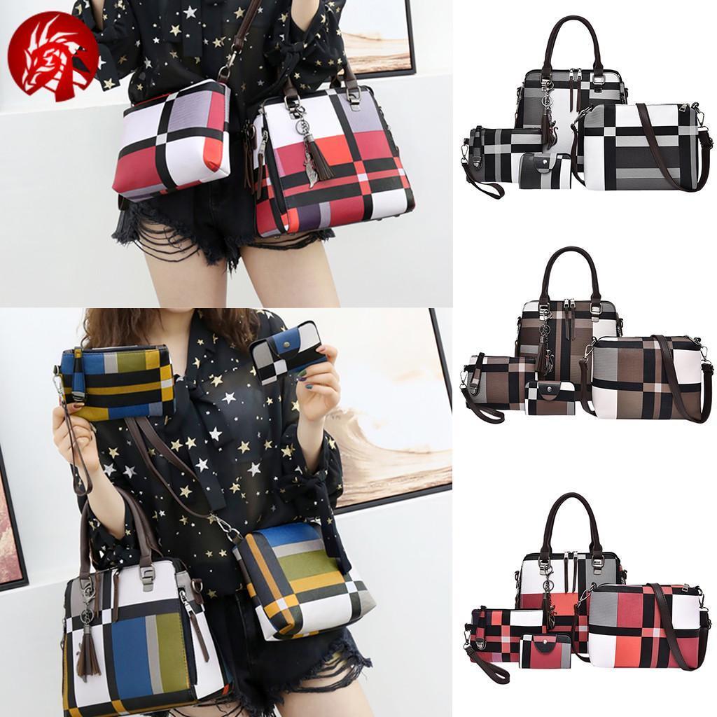 Оригінальний набір жіночих сумок в клітку 4в1