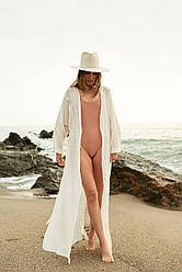 Парео у пів - довга пляжна накидка з льону