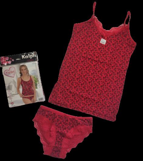 Женский комплект майка и трусики комплект красный, размер L 48, Турция Kalpli 03