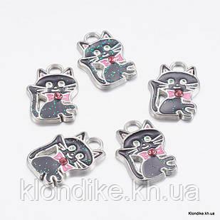 Кулон Кошка, из Сплава, Эмалированный, 19x14x3мм, со Стразами, Цвет: Черный (5 шт)