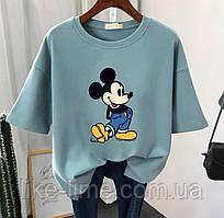 Женская стильная футболка с принтом Микки-Маус