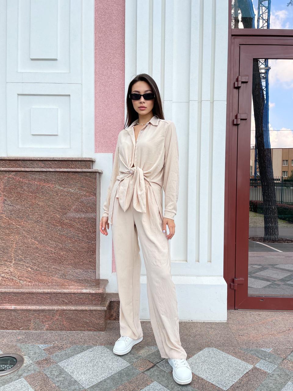 Літній жіночий костюм сорочка і штани жатка
