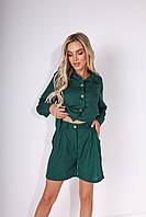 Летний стильный трендовый женский льняной костюм-двойка: шорты + рубашка с карманами (р.44-46). Арт-2445/15