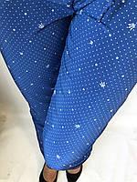 Летние женские брюки в горошек на резинке, льогкие летние женские штаны синие Султанки 17/1, фото 1