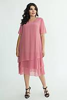 Женское летнее шифоновое свободное платье миди Марина фрез большой размер 56 58 60 62
