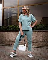 Летний женский трикотадный костюм-двойка батал: блузка + брюки  с карманами (р.48-54). Арт-2444/15, фото 1