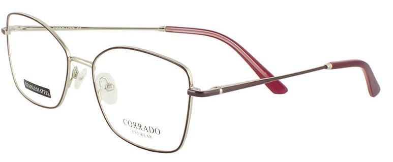 Оправа ободковая, из тонкого металла, бордовая, для женщин, Corrado