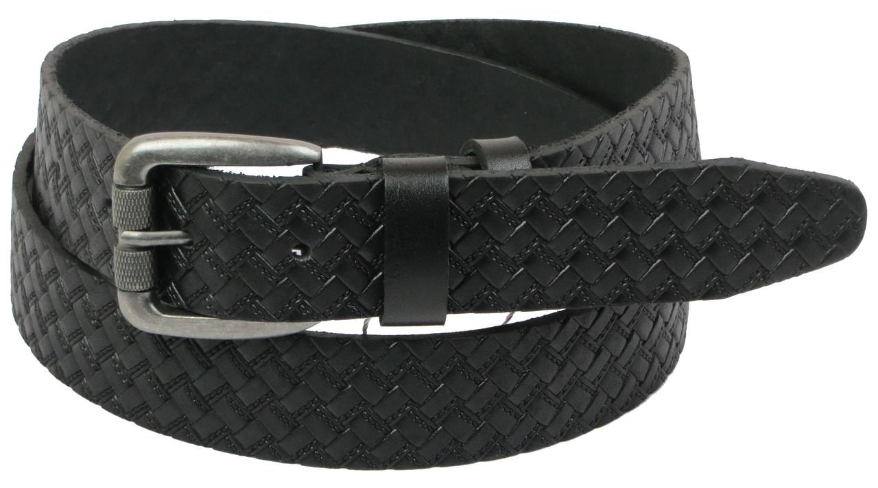 Мужской кожаный ремень под джинсы Skipper 1126-38 черный 3,8 см