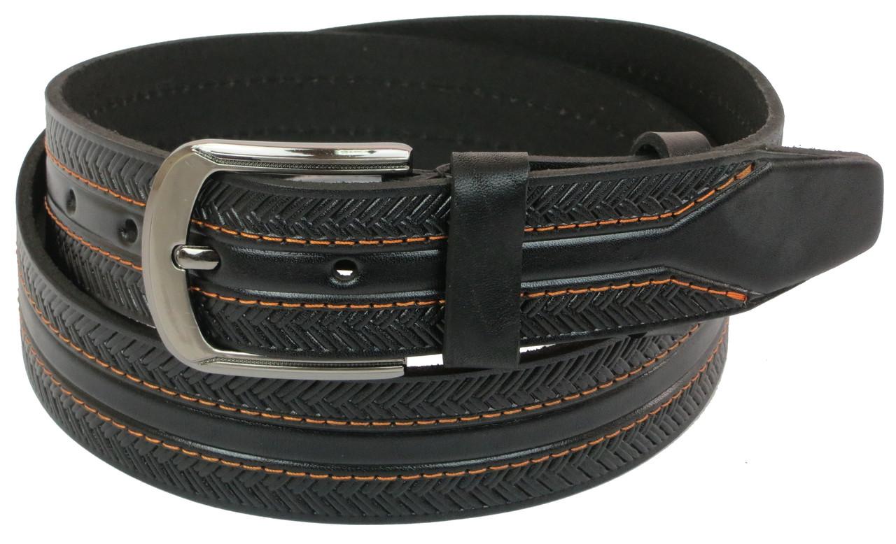 Мужской кожаный ремень под джинсы Skipper 1056-40 черный 4 см