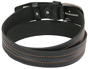 Мужской кожаный ремень под джинсы Skipper 1056-40 черный 4 см, фото 2