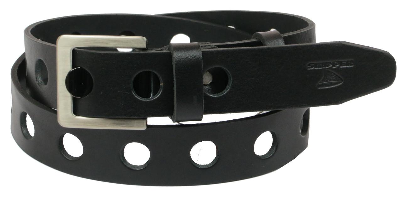 Мужской кожаный ремень под джинсы Skipper 1071-38 черный 3,8 см