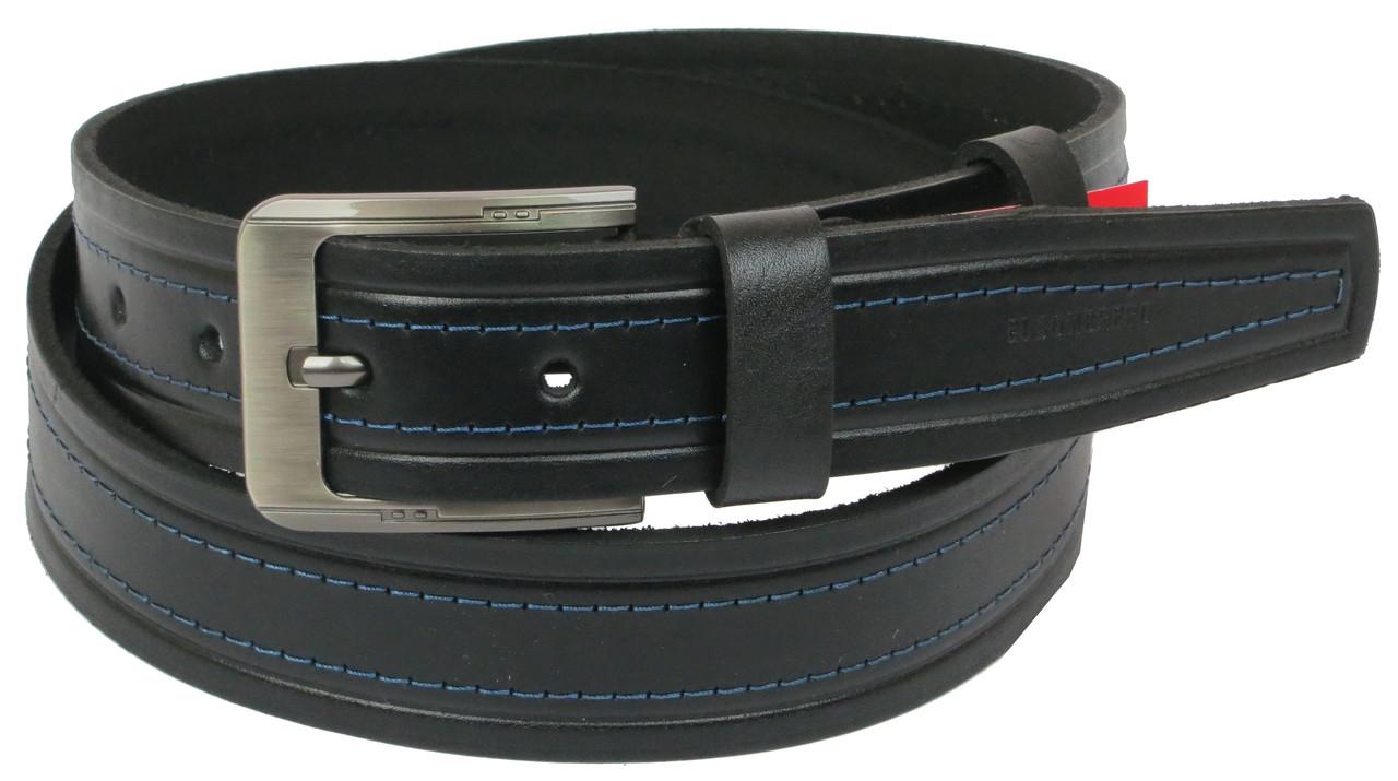 Мужской кожаный ремень под джинсы Skipper 1065-38 черный 3,8 см